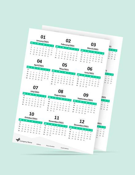 Annual Marketing Desk Calendar Template