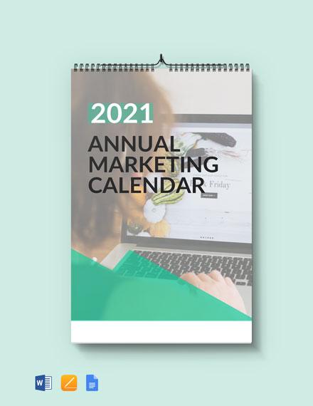 Free Annual Marketing Desk Calendar Template