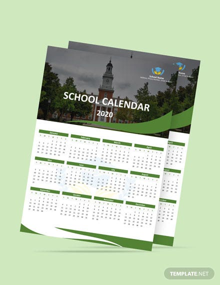 Blank School Desk Calendar Template