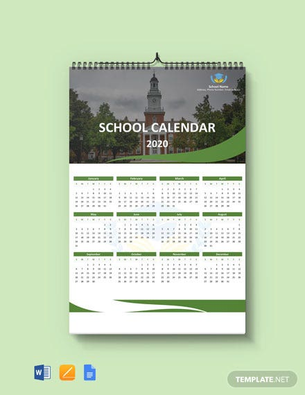 Free Blank School Desk Calendar Template