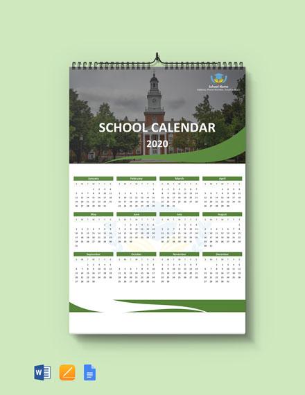 Blank School Desk Calendar