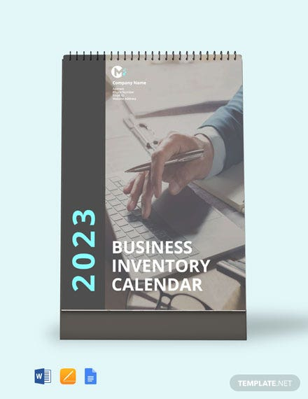Free Business Inventory Desk Calendar Template