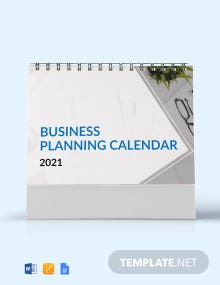 Business Planning Desk Calendar Template