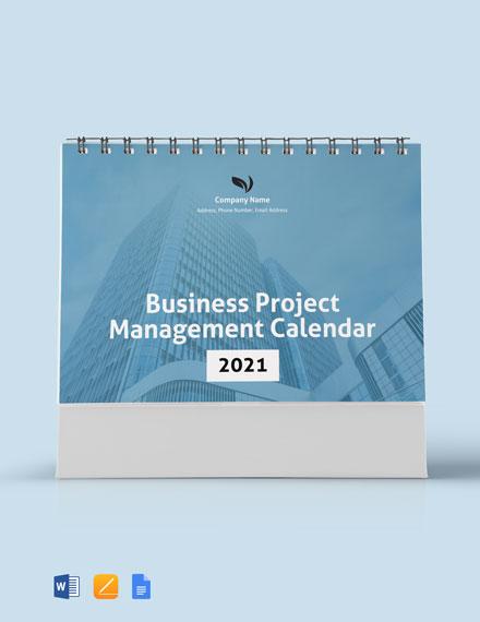 Business Project Management Desk Calendar Template