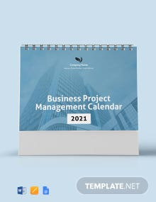 Free Business Project Management Desk Calendar Template