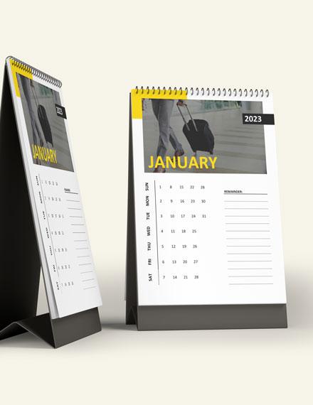 Business Travel Desk Calendar Template