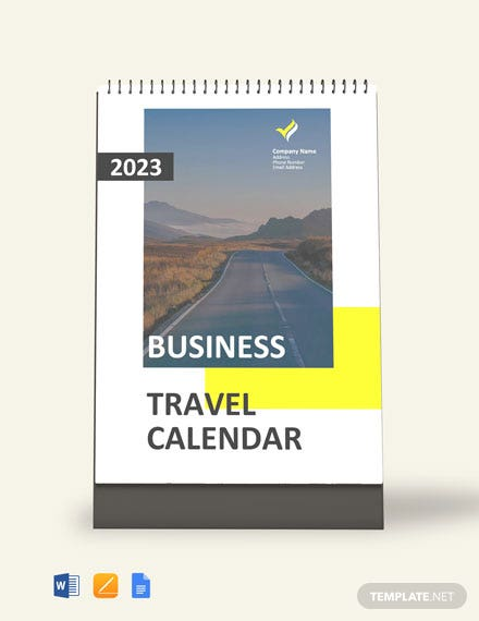 Free Business Travel Desk Calendar Template