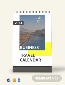 Business Travel Desk Calendar Template