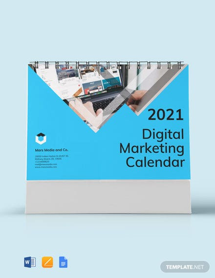 Free Digital Marketing Desk Calendar Template