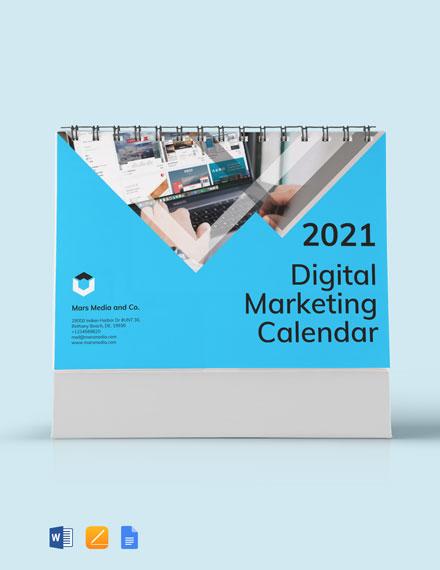 Free Digital Marketing Desk Calendar Template