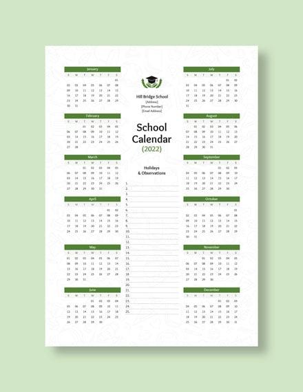 Editable School Desk Calendar Download