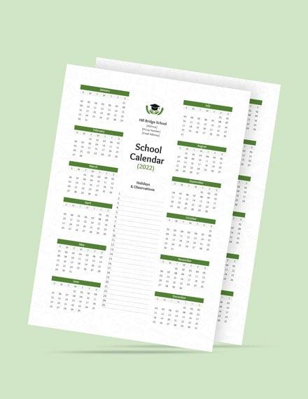 Editable School Desk Calendar Template