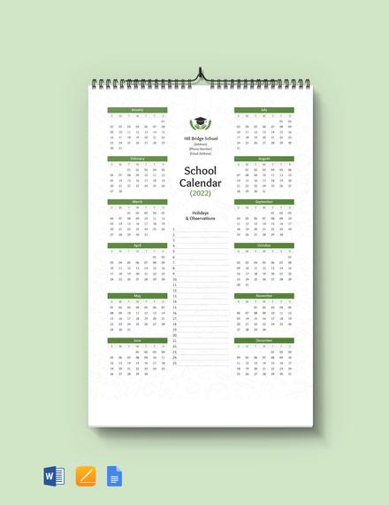 Free Editable School Desk Calendar Template