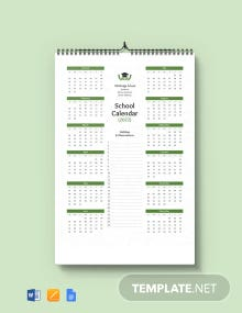 Editable School Desk Calendar Template