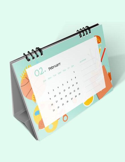 Kindergarten School Desk Calendar Download