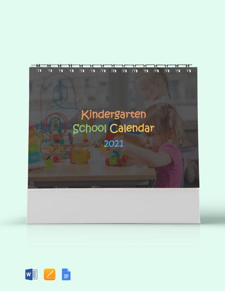 Kindergarten School Desk Calendar Template