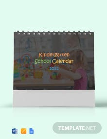 Free Kindergarten School Desk Calendar Template