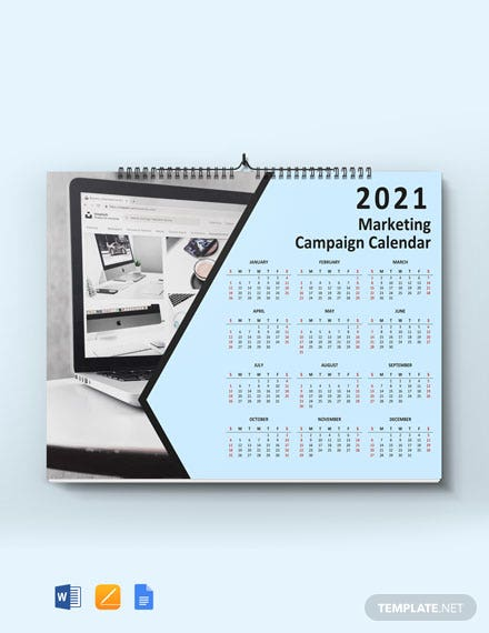 Free Marketing Campaign Desk Calendar Template