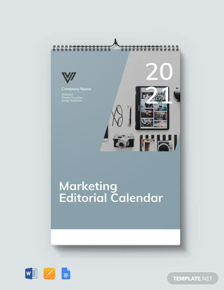 Marketing Editorial Desk Calendar Template