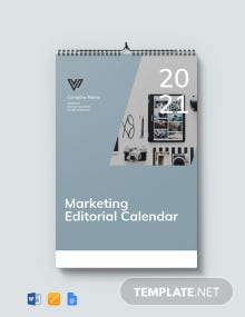 Free Marketing Editorial Desk Calendar Template