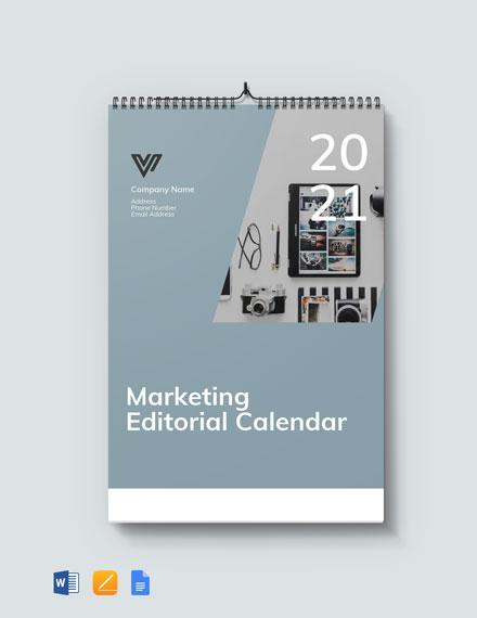 Marketing Editorial Desk Calendar Template