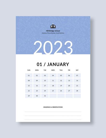 Monthly School Desk Calendar Download