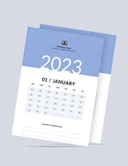 Monthly School Desk Calendar Template