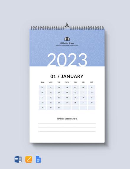 Monthly School Desk Calendar