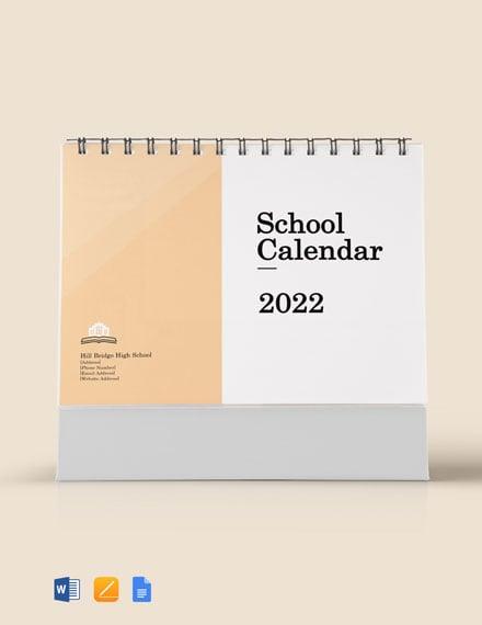 Printable School Desk Calendar