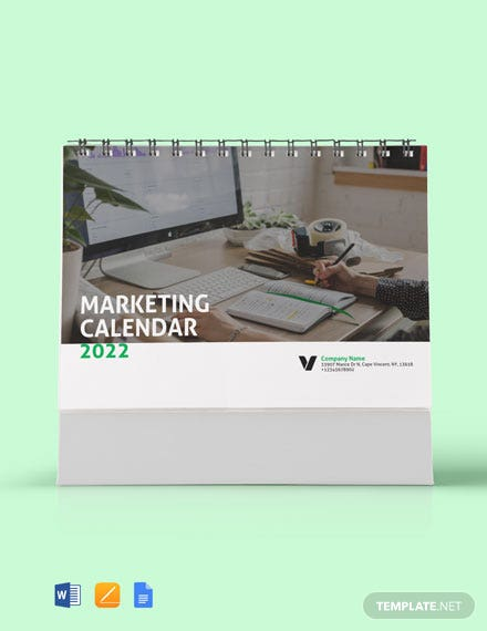 Sample Marketing Desk Calendar Template