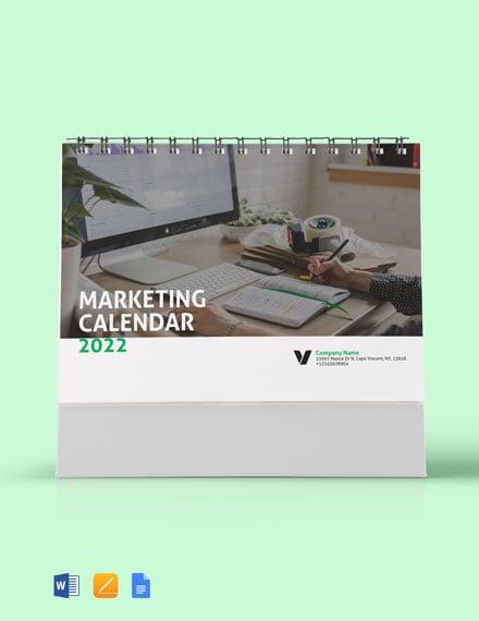 Sample Marketing Desk Calendar Template