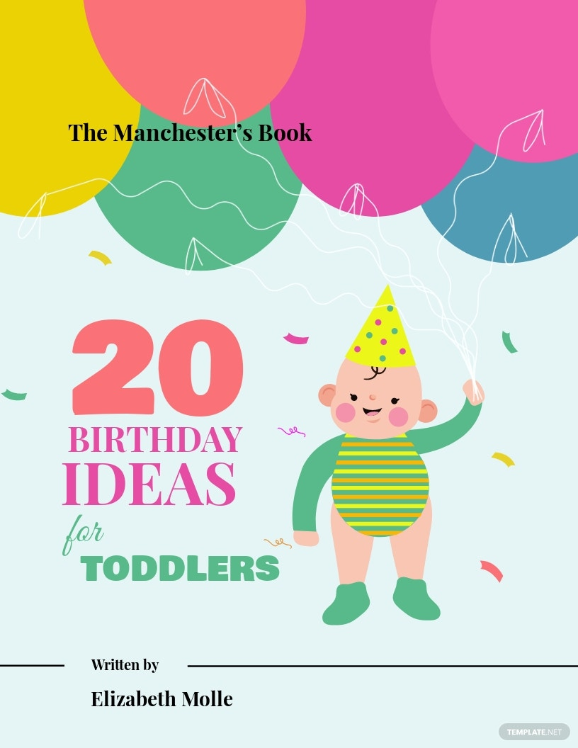 Free Childrens Birthday Book Cover Template.jpe