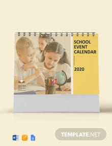 Free School Event Desk Calendar Template