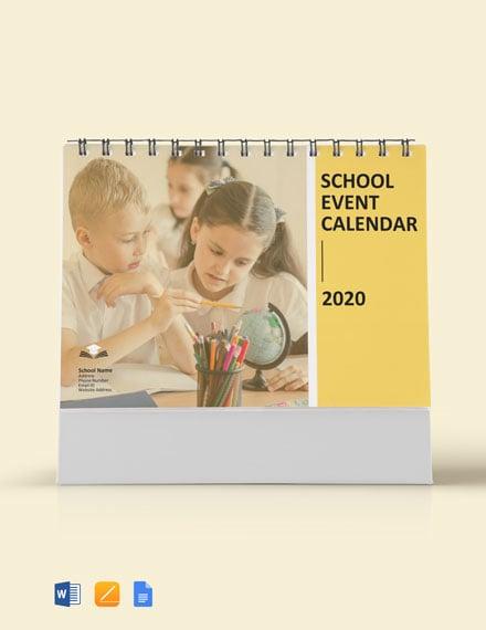 School Event Desk Calendar Template