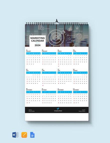 Simple Marketing Desk Calendar Template