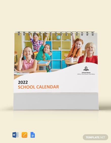 Simple School Desk Calendar
