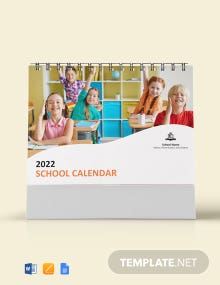 Free Simple School Desk Calendar Template