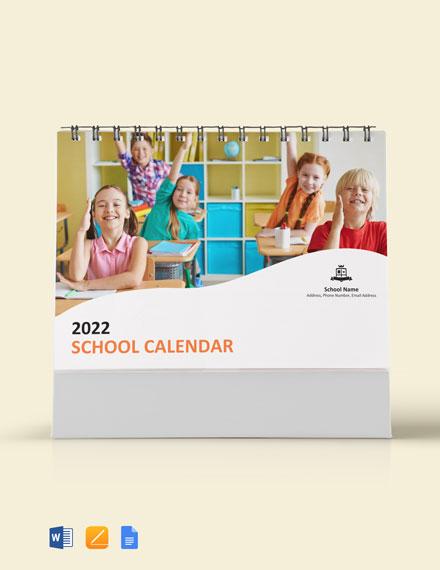 Simple School Desk Calendar Template