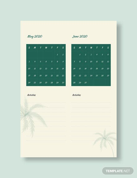 Summer Activity Desk Calendar Download