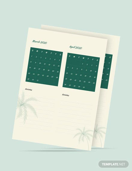 Summer Activity Desk Calendar Template