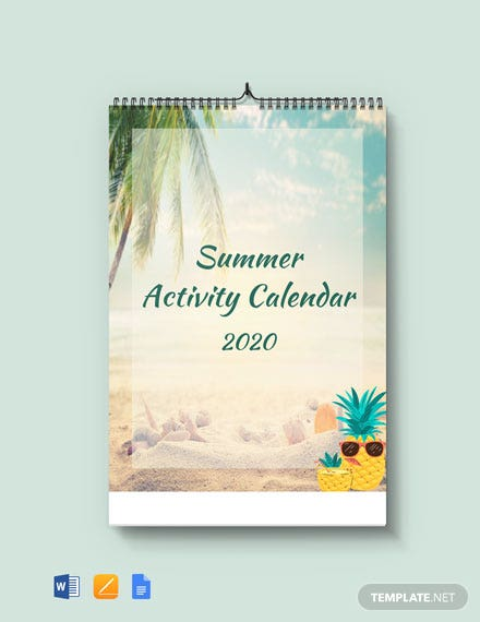 Summer Activity Desk Calendar