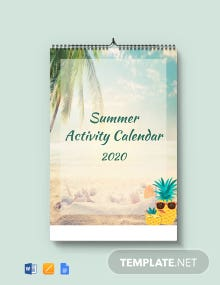 Free Summer Activity Desk Calendar Template
