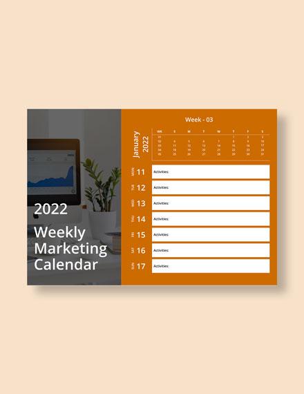 Weekly Marketing Desk Calendar Download