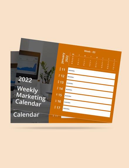 Weekly Marketing Desk Calendar Template