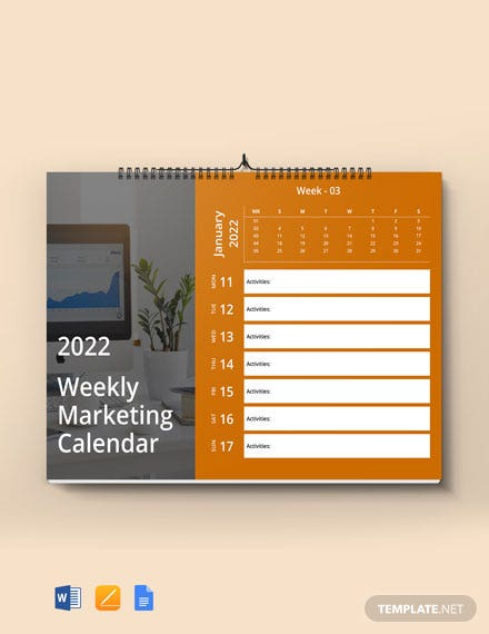 Weekly Marketing Desk Calendar Template