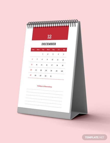 Yearly School Desk Calendar Download