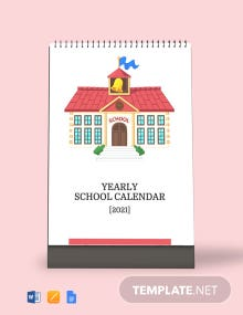 Yearly School Desk Calendar Template