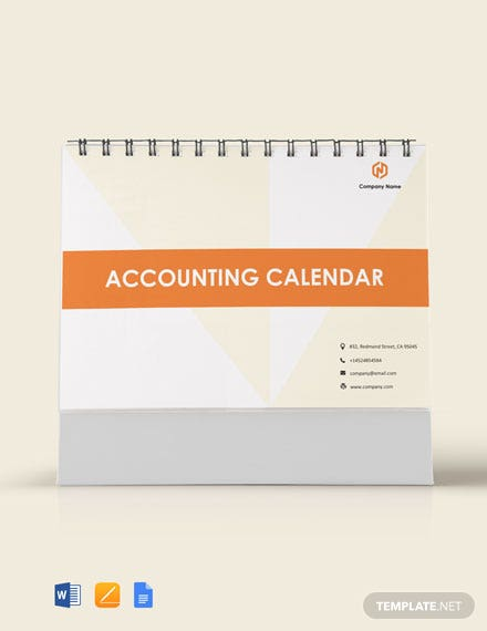 Free Accounting Desk Calendar Template