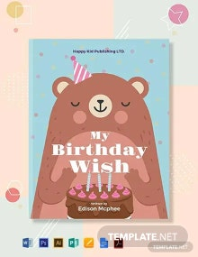 Free Kid's Birthday Book Cover Template