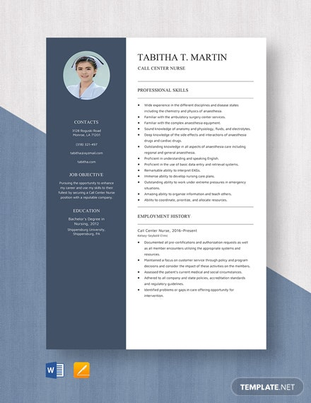 Call Center Nurse Resume Template